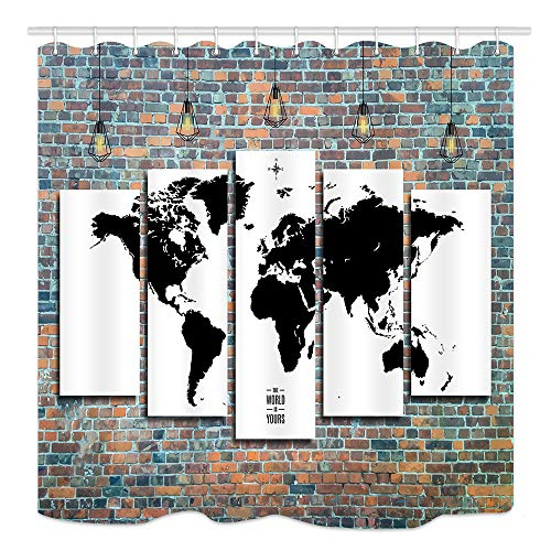Loft Asian Collection - DYNH World Map Decor Collection Wanderlust, World Map on Brick Stonewall Wallpaper in Loft Style, Fabric Bathroom Shower Curtain Set Polyester, 69X70 Inches Bath Curtains with Rings