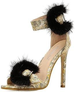 SHINIK Women's Shoes Europe Et Aux États-Unis Mme Sandals Été New Fish Mouth avec Un Mot Fin avec des Talons Hauts