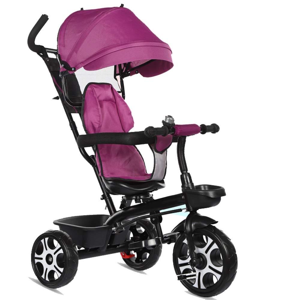 YUMEIGE 子ども用自転車 子供三輪車ペダル自転車トロリー付き1-5年歳のベビーカー男の子女の子おもちゃカー子供パラソル付き自転車ベルと回転座席 利用できるサイズ (色 : 紫の)  紫の B07QH1LC7B