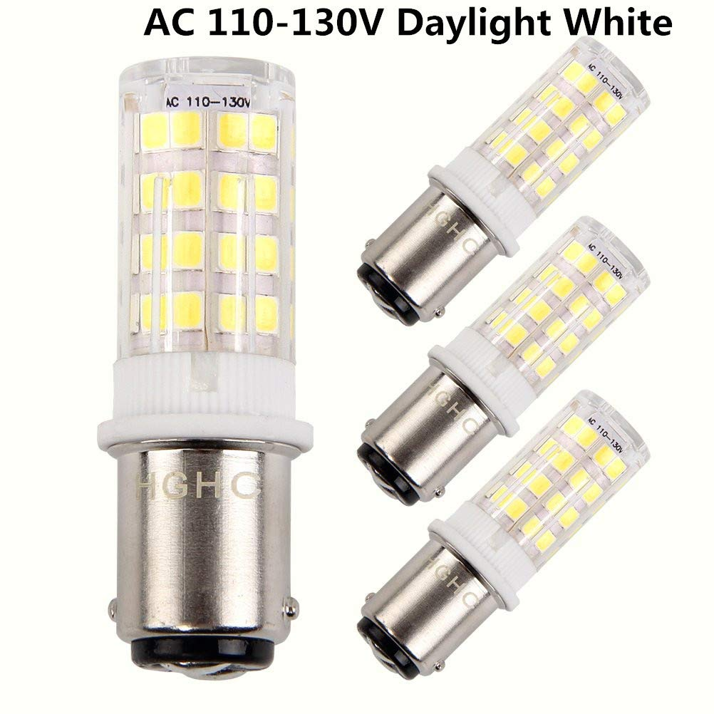 BA15D Double Bayonet Sewing Machine LED Light Bulb 5 Watt Daylight White 6000K Non-dimmable AC110V-130V (Pack of 4)
