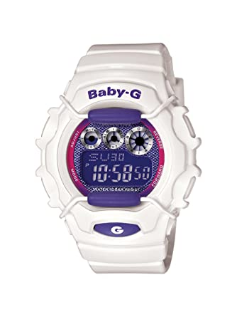 46759fa59ad Amazon.com  Casio Women s Baby G Shock Resistant- White and Purple - Multi  Function Watch  Casio Baby-G  Watches