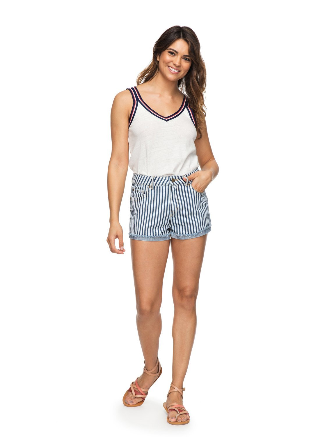 Roxy Womens Holbrook - Denim Shorts - Women - 29 - Blue Medium Blue La Vague Stripe 29