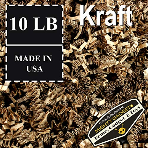 Mighty Gadget Brand 10 LB Value Pack Crinkle Cut Paper Shred Filler for Packing and Filling Gift Baskets, Gift Boxes Natural Craft Bedding in Brown Kraft (10 ()