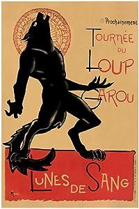 Loup Garou Noir Black Werewolf Chat Noir Parody Laminated Dry Erase Sign Poster 24x36