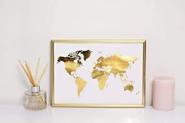 World map poster real gold foil map print gold foil world atlas world map poster real gold foil map print gold foil world atlas gumiabroncs Images