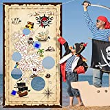 Pirate Bean Bag Toss Game Pirate Treasure Hunt Toss Games with 3 Bean Bags, Pirate Theme Party Decorations and Supplies