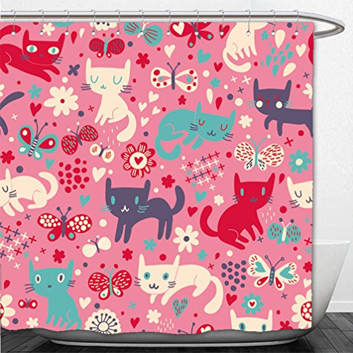 Interestlee Shower Curtain funny cats cartoon seamless pattern for children background colorful wallpaper with cats - Playa Funny Quotes