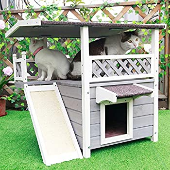 Image of Petsfit Outdoor Cat House with Escape Door and Scratching Pad Pet Supplies