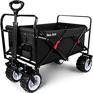 BEAU JARDIN Folding Wagon Cart 300 Pound Capacity Collapsible Utility Camping Grocery Canvas Sturdy Portable Rolling Lightweight Outdoor Garden Sport Heavy Duty Shopping Wide All Terrain Wheel Black