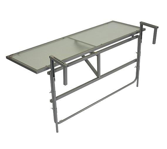 Balcón – Mesa colgante (120 x 40 cm, acero gris + cristal de ...