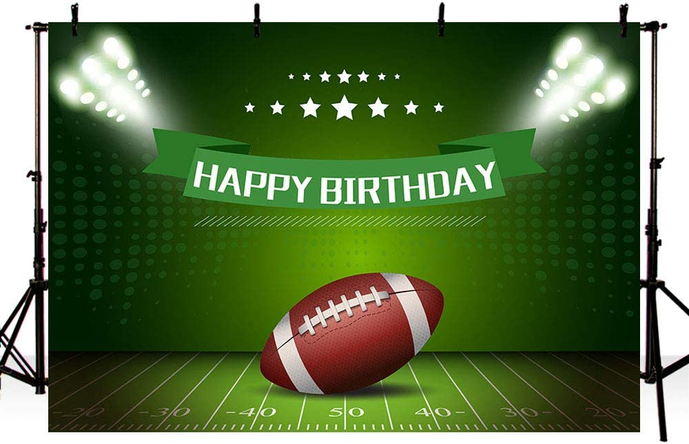 MEHOFOTO American Football Theme Boy Happy Birthday Photography Backdrop Party Decoration Rugby Sports Soccer Field Banner Photo Studio Background 7x5ft