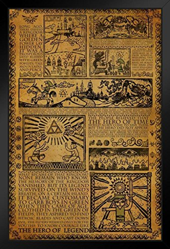 Pyramid America Zelda Story of The Hero Mythology Timeline Video Game Gaming Framed Poster 14x20 inch -