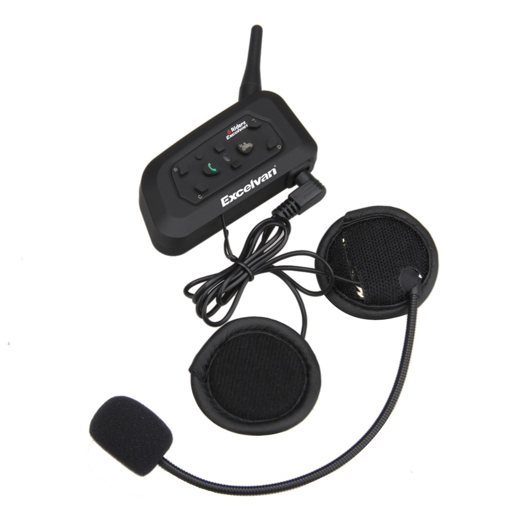 Excelvan V Auriculares Intercomunicador Bluetooth para casco de motocicleta Moto Intercom Headset