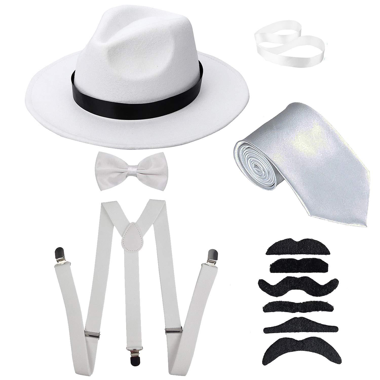 098b87bced2af3 Men's Roaring 1920s Gangster Costume - Manhattan Fedora Hat,Suspenders  Y-Back Elastic Trouser Braces & Pre Tied Bow Tie,Gangster Tie & Fake  Mustache ...