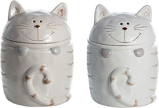 Set de Botes para alimentos cerámica, tarros de ceramica con diseño de gatos, té, café, azúcar juego de tarro de almacenamiento, uso general, blanco y visón colores, regalo con gatos: Amazon.es: Hogar
