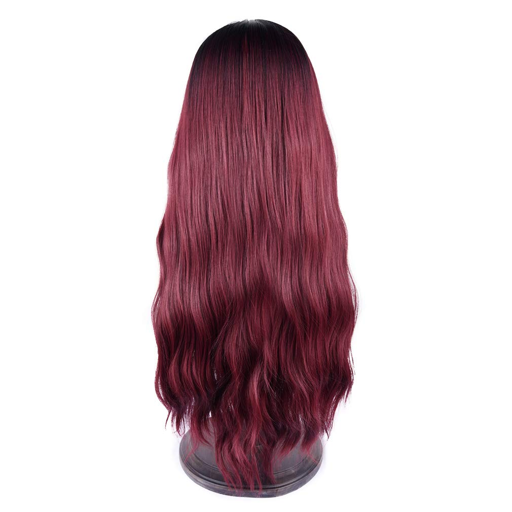 SEIKEA Women Color Wig Long Curly Hair Ombre with Root Girl Cosplay Costume Heat Resistant Synthetic Hairpiece #226V-Black Silver Grey