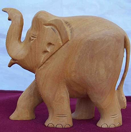 Amazon Com Elephant Made With Wood Craft Carving Handicraft Art
