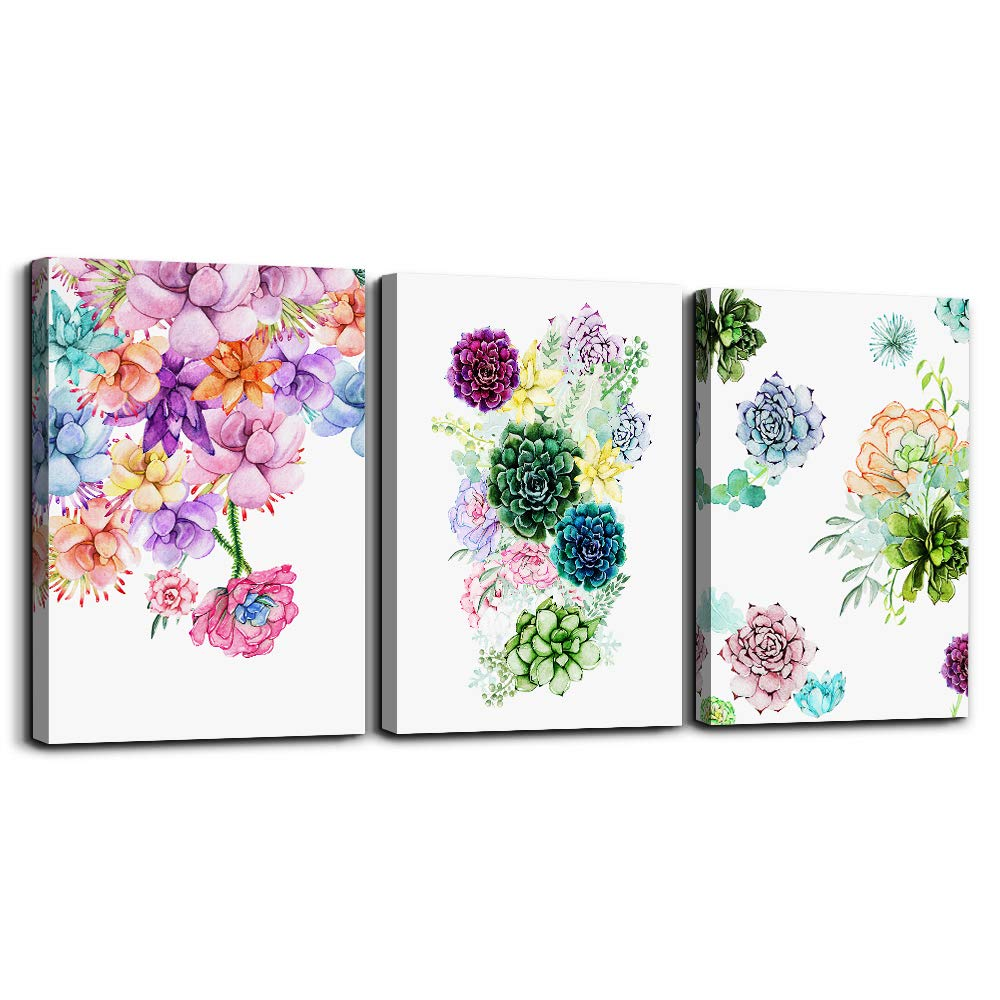 """Canvas Wall Art for living room bathroom Decor for bedroom kitchen artwork Canvas Prints Colorful abstract watercolor of flowers painting 12"""" x 16"""" 3 Pieces Modern framed office Home decorations"""