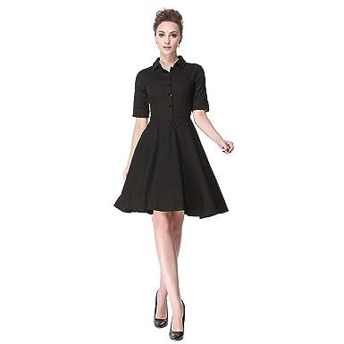 17e970fc0e5 Heroecol Vintage 1950s 50s Dress Style Retro Rockabiily Cocktail Poloneck S  BK Black