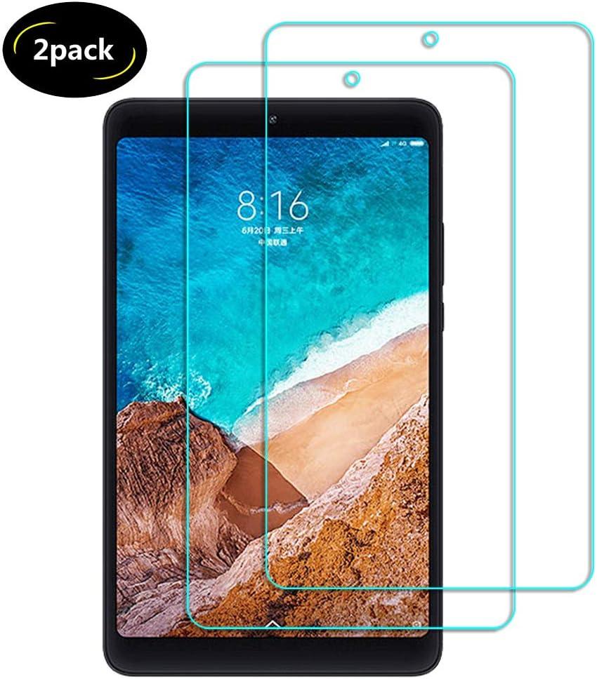 Lusee 2 Piezas Protector de Pantalla para Xiaomi Mi Pad 4 8.0 Cristal Vidrio Templado [Dureza 9H] [Alta Definición] Resistente a los arañazos/Anti-Huellas 2.5D Borde Curvo Protector de Pantalla