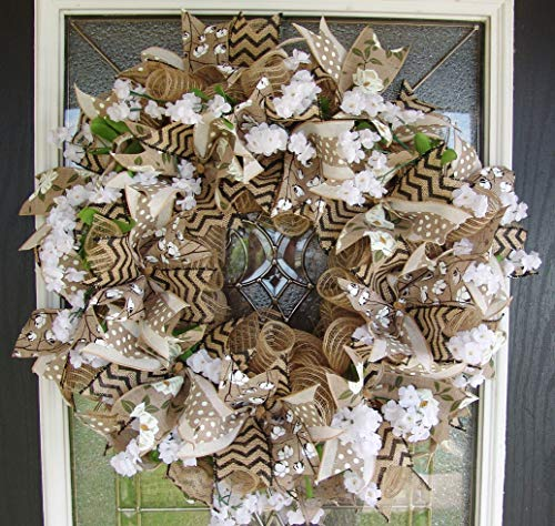 Southern Charm! Magnolia & Cotton, Deco Mesh Front Door Wreath, Farmhouse Farm Style Decor, Porch Patio Decoration, Indoor Outdoor, Chevron & Polka Dots (Wreaths Mesh Christmas)