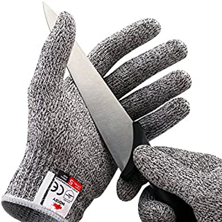 NoCry Cut Resistant Gloves - Ambidextrous, Food Grade, High Performance Level 5 Protection. Size Extra Large, Complimentary Ebook Included