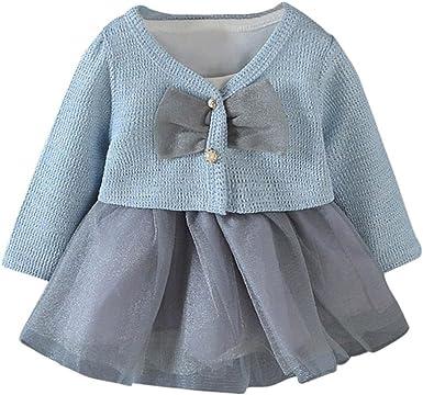 Yannerr 2PCS Bebé niña Manga Larga Tricot Punto Arco Camiseta Tops ...