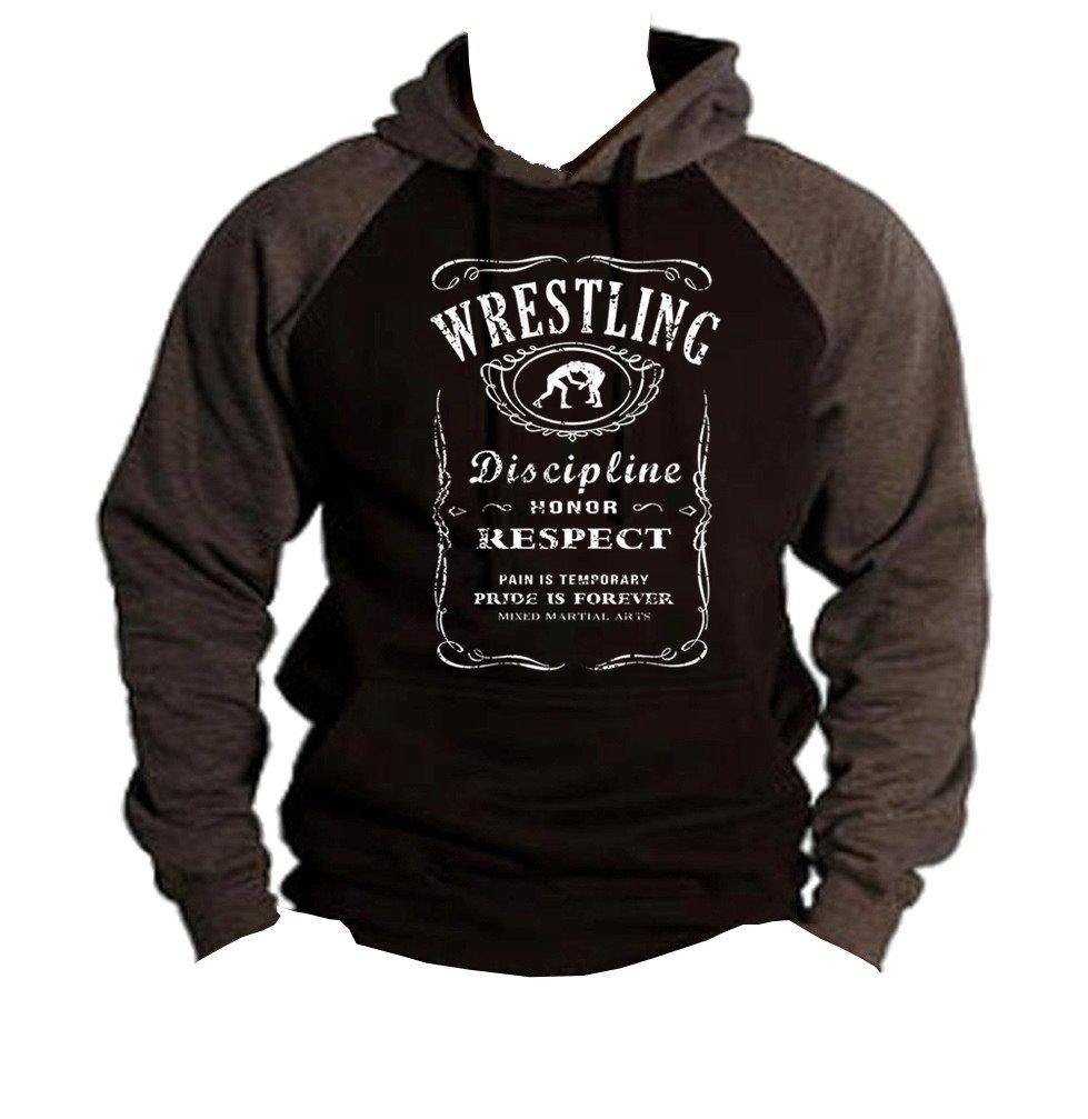 Interstate Apparel Men's MMA Wrestling Whiskey Label Black/Charcoal Raglan Baseball Hoodie Sweater Medium Black