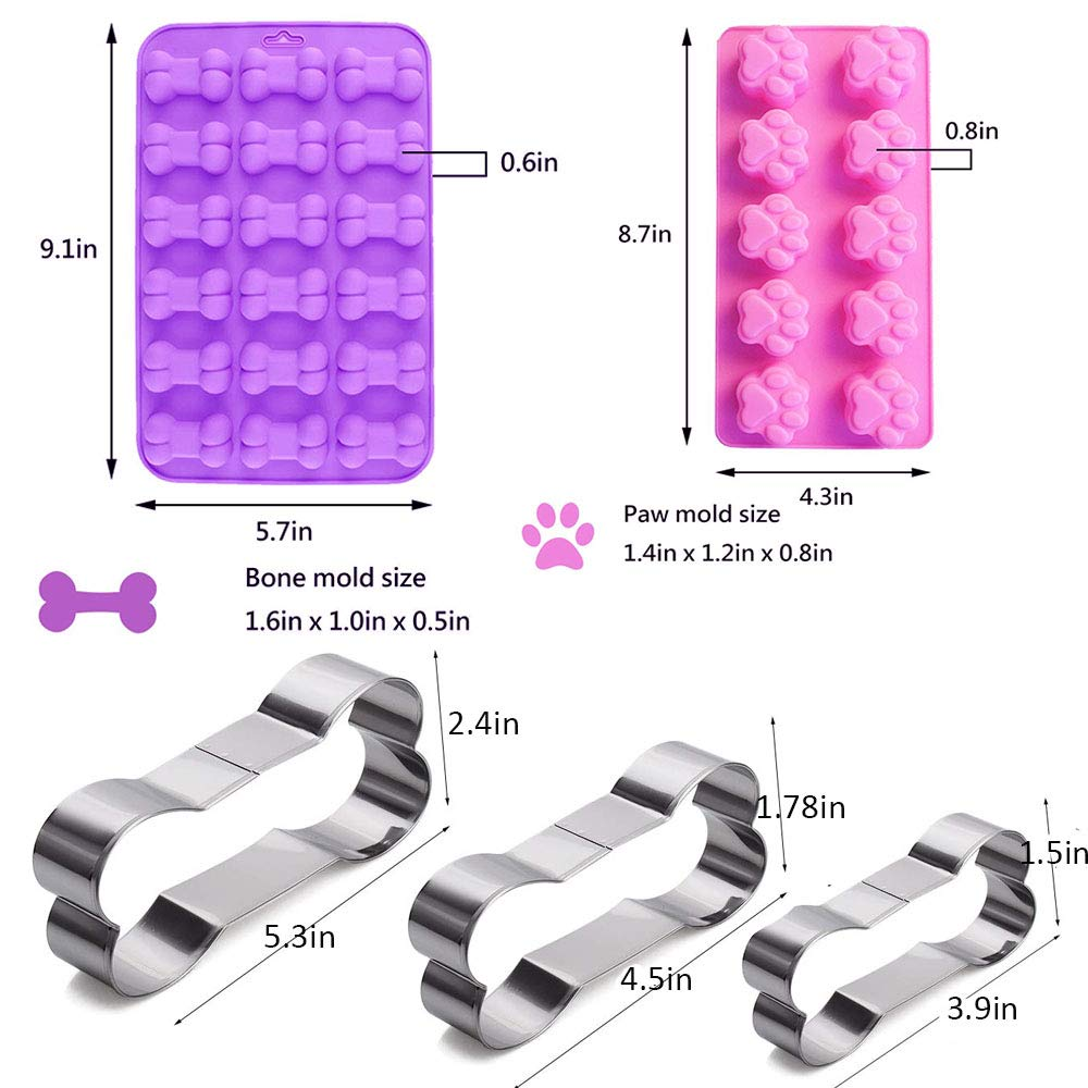 7 Pack Dog Treat Molds, Puppy Dog Paw and Bone Molds, Non-stick Dog Ice Molds Trays, Reusable Baking Molds for Chocolate, Candy, Cupcake, Biscuits- perfect Dog Cookie Molds for Puppy lovers by Ausplua (Image #1)