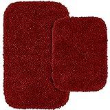 Garland Rug 2-Piece Serendipity Shaggy Washable Nylon Bathroom Rug Set, Chili Pepper Red