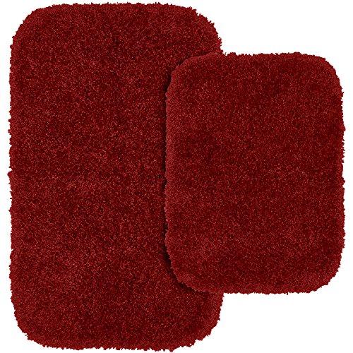 (Garland Rug 2-Piece Serendipity Shaggy Washable Nylon Bathroom Rug Set, Chili Pepper Red)