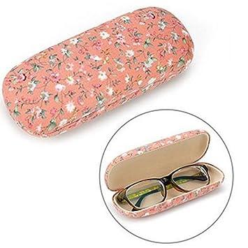 Leisial Lindo Estuche de Anteojos Diseño Flora Funda de Gafas Sol Caja de Miopía Caja de Almacenamiento para Estudiantes Hombre Mujer 16.5*6.5*3.5cm
