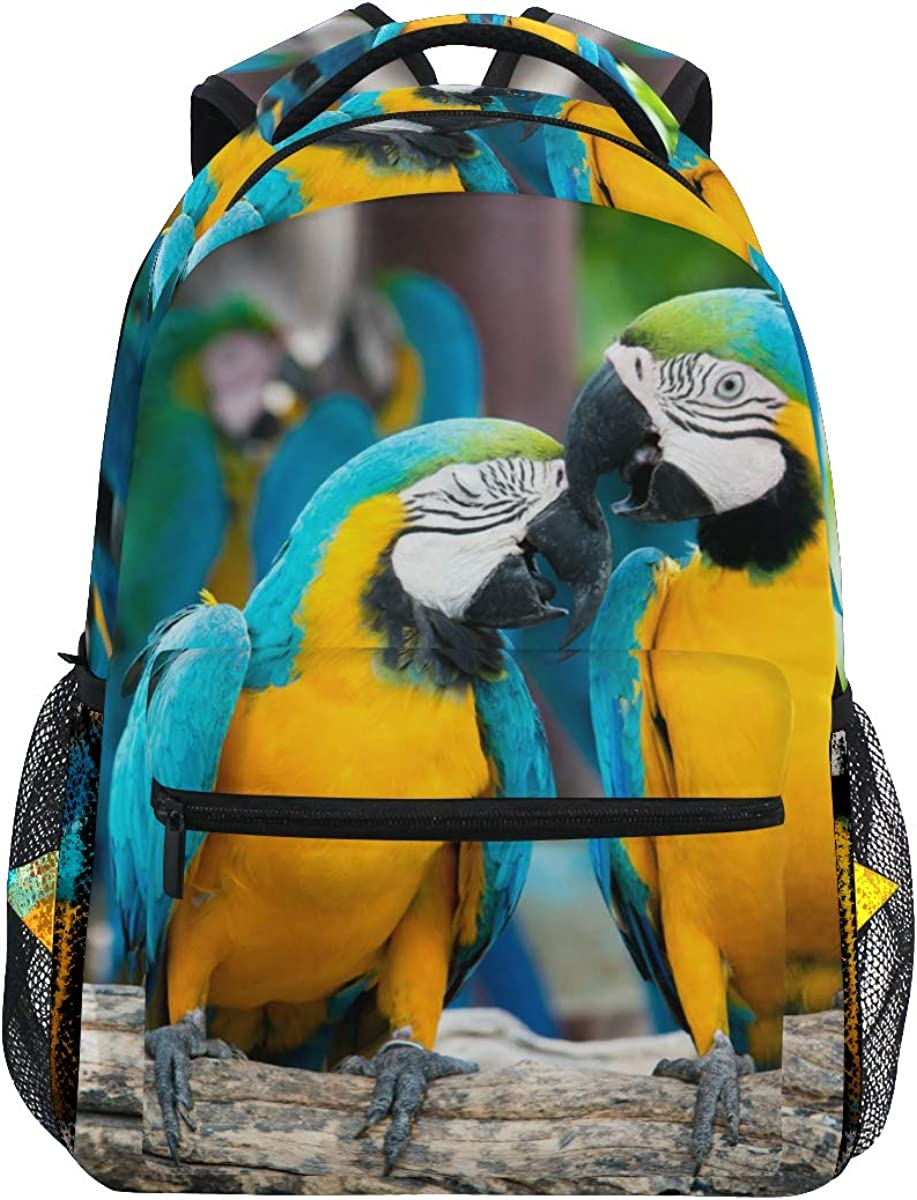 Laptop Backpack Boys Grils - Macaw Birds Forest School Bookbags Computer Daypack for Travel Hiking Camping