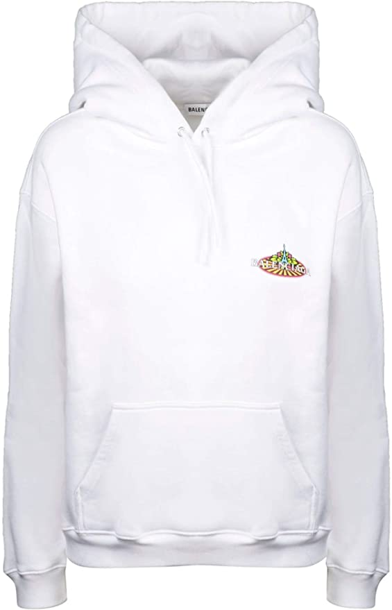 BALENCIAGA Felpa In Cotone Bianco Bambino Abbigliamento