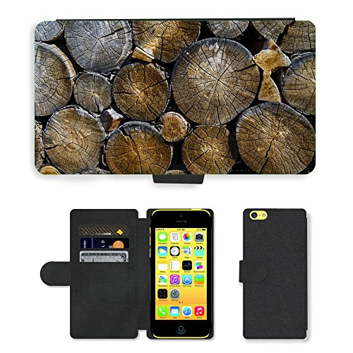 PU Leather Cover Custodia per // M00421557 Journaux Lumber Bois Bois Logging // Apple iPhone 5C