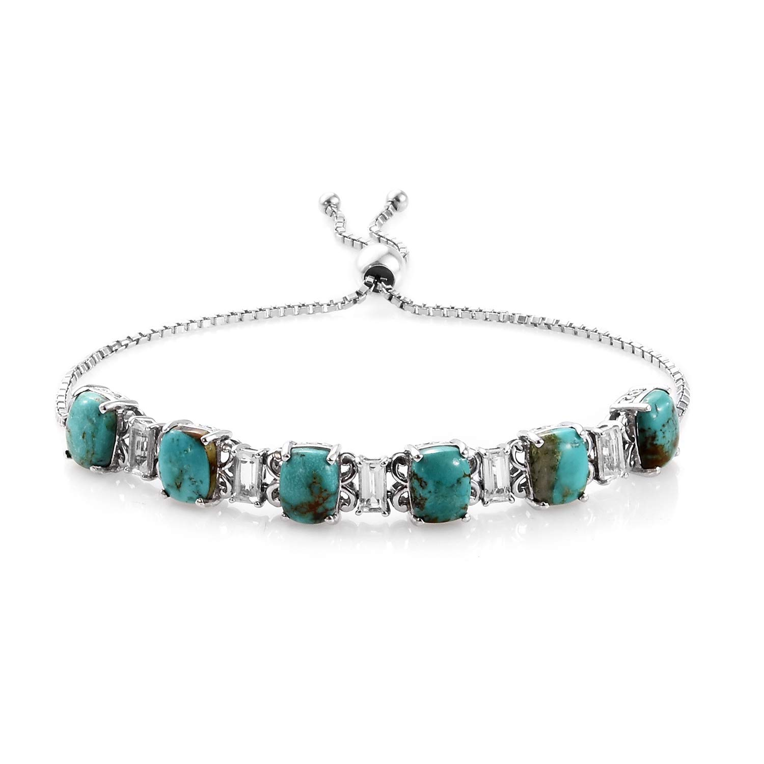 925 Sterling Silver Platinum Plated Turquoise White Topaz Bolo Tennis Bracelet for Women Jewelry Gift (Adjustable)