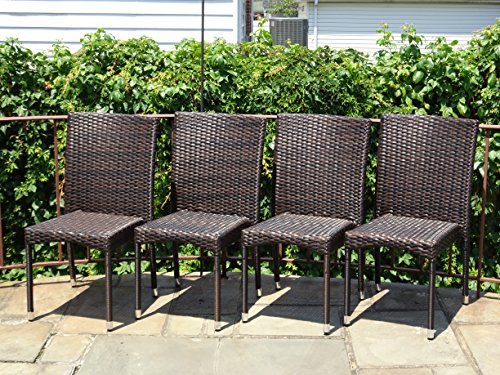 Set of 4 Patio Outdoor Wicker Side Chairs Garden Furniture Deck Backyard, Dark Brown (Chair Brown Dark Wicker)