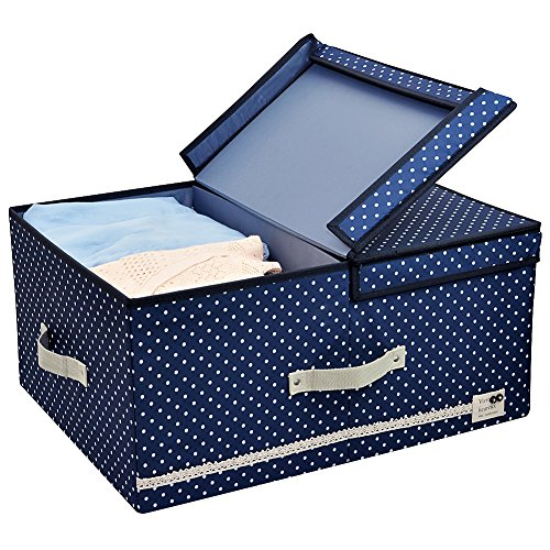 iwill CREATE PRO Jumbo Foldable Thick Polyester Storage Bin Clothes Organizer Box with Lid and Removable Divider, 60 L, Blue Dot with Navy Blue Trim