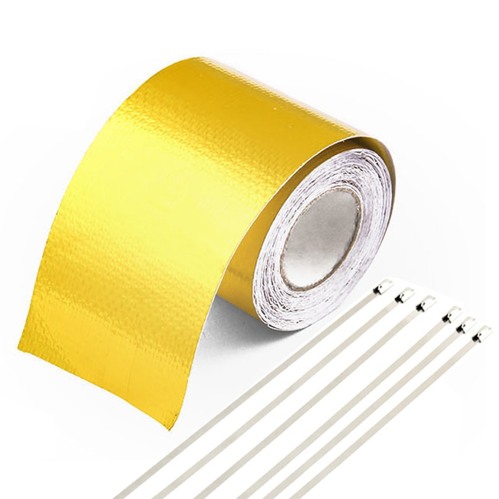 Automotive 5M*5cm Heat Shield Exhaust Pipe Wrap Roll, GOGOLO Self-Adhesive Heat Reflective Aluminum Foil Tape Barrier with 6pcs Metal Hoops for Car Truck Motorcycle Ducts Engine Pipe Cover Thermal Insulation EXHAUST-SHIED-GOLD