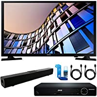 Samsung UN28M4500 27.5 720p Smart LED TV (2017 Model) + HDMI 1080p High Definition DVD Player + Solo X3 Bluetooth Home Theater Sound Bar + 2x HDMI Cable + LED TV Screen Cleaner