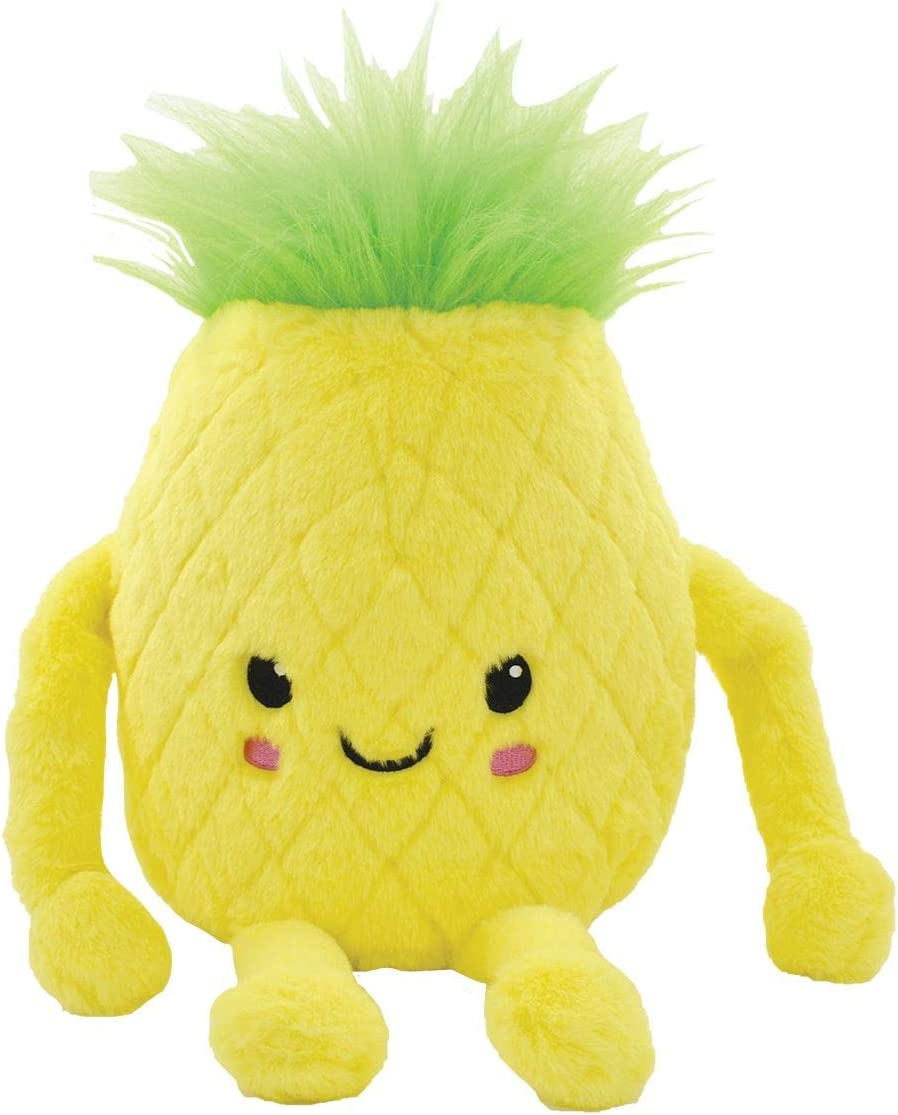 iscream Kawaii Cutie 3D Pineapple Shaped Embroidered Accent 11 Furry Pillow
