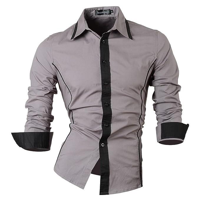 Jeansian Manga Larga De Los Hombres De Moda Slim Fit Camisas Men Fashion Shirts 8397 mheCt