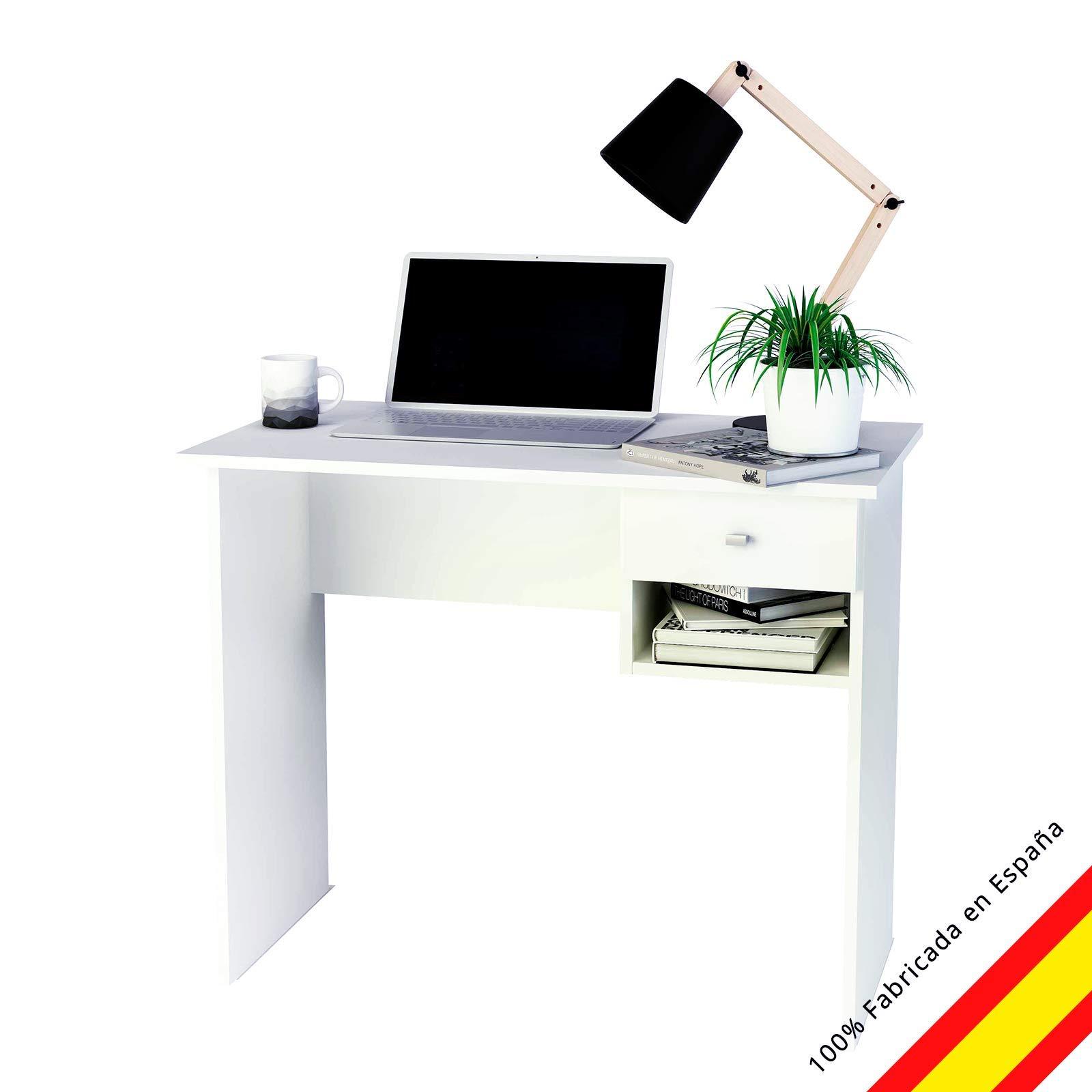 Samblo Hana Mesa de Estudio con un cajón, Madera contrachapada, Blanco, 90 cm