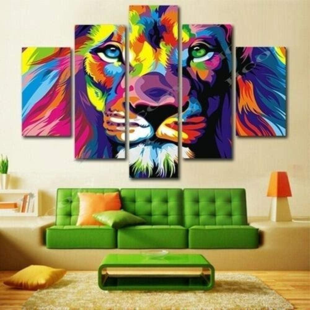 147Tdfc Cuadros Decoracion Salon Modernos Murales Dormitorios Fondo Pared 5 Piezas Lienzo XXL Grande Enmarcado Hogar Decora Animal León Rey Abstracto Colorido HD Impresión Cuadro