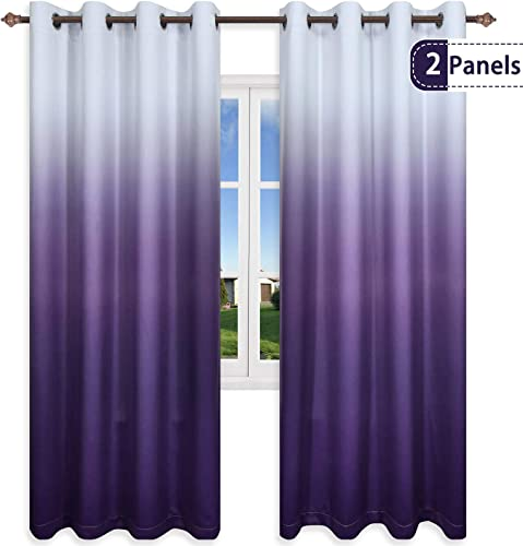 KEQIAOSUOCAI Gradient Color Printed Curtains Soft Polyester Thermal Insulated Grommet Ombre Purple Blackout Window Drapes for Nursery Kids Room W52 X L95 2 Panels Purple