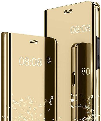 Alsoar Compatibile per Huawei P9 Lite Cover Clear View Specchio Standing Cover Ultra Slim Mirror Flip Custodia Bookstyle Wallet Portafoglio Custodia ...