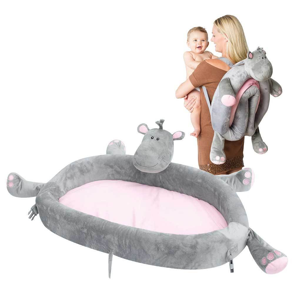Baby Travel Bed - Portable Toddler Lounge Folds Into Backpack For Sleep, Travel, And Play - Hippo by LulyZoo   B018EPXMJI