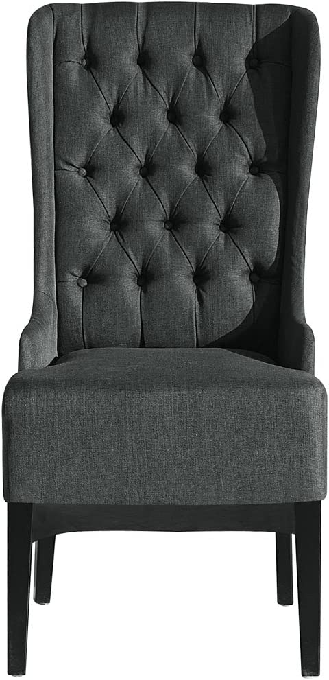 Baxton Studio Vincent Grey Linen Button Tufted Chair