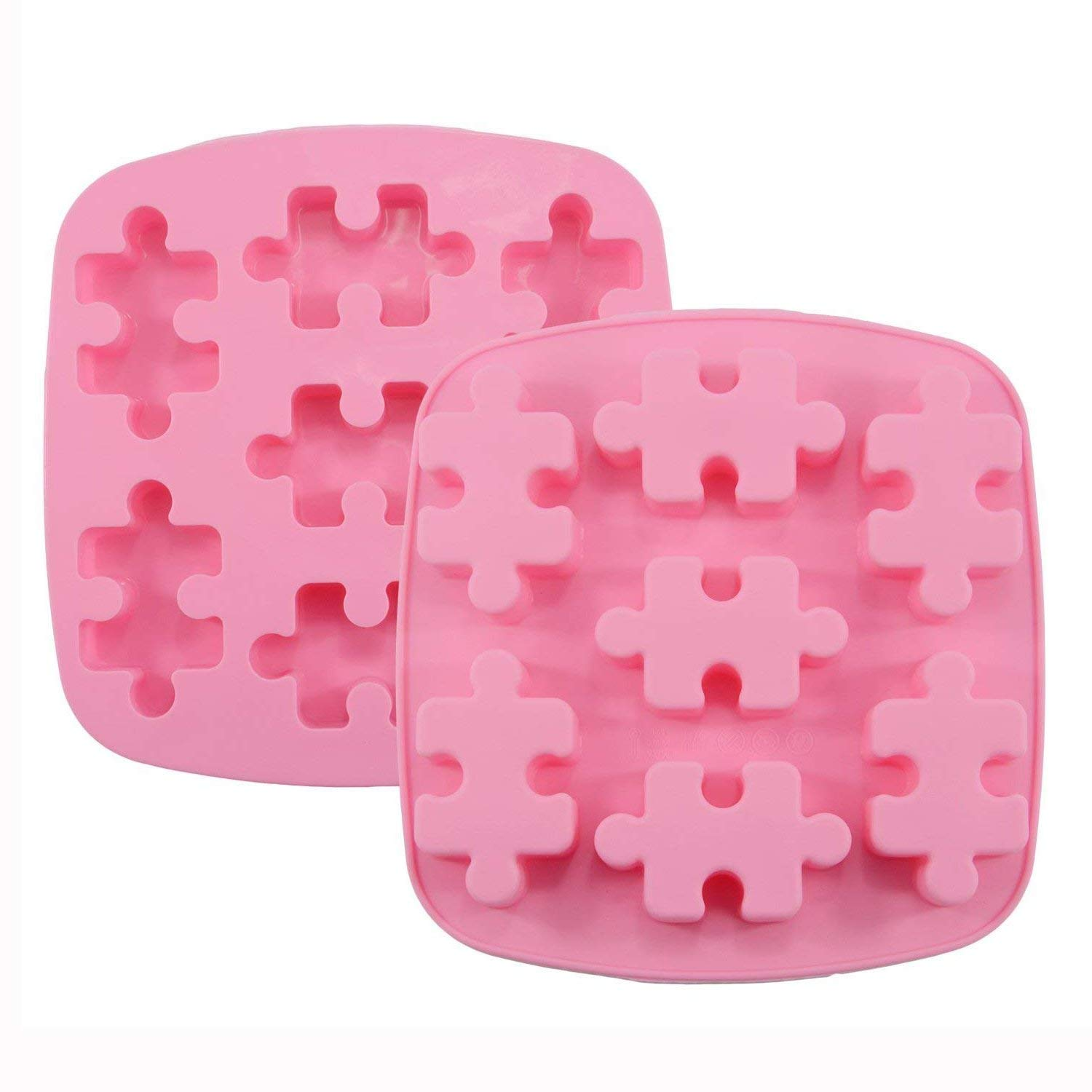 Himi Puzzle Piece Mold Puzzle Crayons Maker - Set of 2 - Non-stick Heat Resistance Silicone Puzzle Mold Perfect for Wax Samples, Chocolate, Jello shots, Pudding, Bath Bomb, Soap and Ice Cube etc.