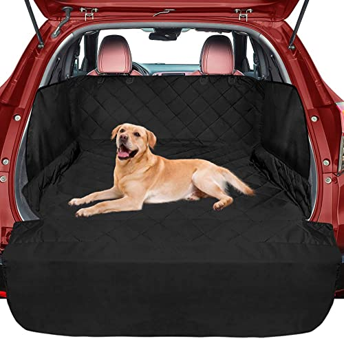 FunniPets SUV Cargo Liner for Dogs, Waterproof Cargo Cover for SUVs Sedans Vans, Pet Seat Cover with Side Flap and Bumper Flap, Non-Slip Backing, Universal Fit